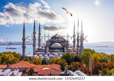 Gorgeous Sultan Ahmet Mosque in Istanbul and the Bosporus on the background
