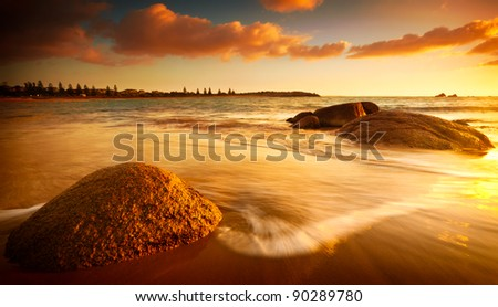 Gorgeous Sunrise on a South Australian Beach - stock photo