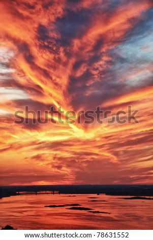 Gorgeous sunset sky reflecting in river