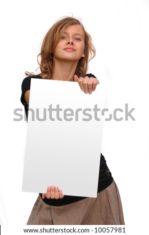 stock photo gorgeous teen model with blank message space board 10057981 Notice comment that there are 100000 sex offenders nationally.