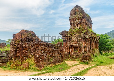 Gorgeous view of red brick temples of My Son Sanctuary in Da Nang (Danang), Vietnam. My Son is a complex of partially ruined ancient Hindu temples constructed by the kings of Champa.