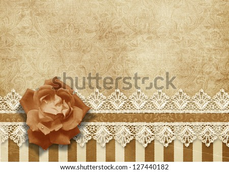 Gorgeous vintage background with lace and rose