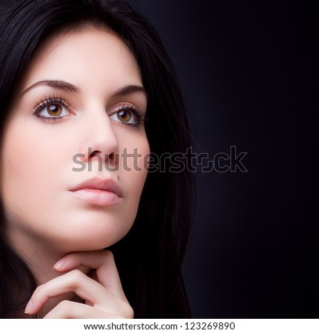 gorgeous woman portrait - hand on chin