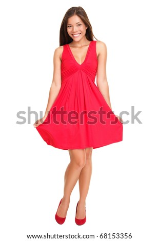 Stock Photo Gorgeous woman. Portrait of beautiful smiling young woman standing in cute red dress isolated on white background in full length. Sexy mixed race Chinese Asian / Caucasian female model.