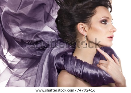 gorgeous woman with purple color scarf