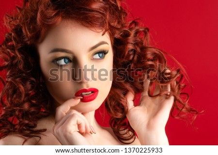 gorgeous woman with red hair thought closeup #1370225933