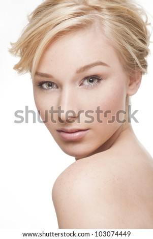 Gorgeous young blond woman on white background