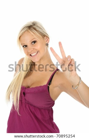 Gorgeous young blonde lady showing the peace sign