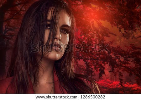 Gorgeous young brunette woman face portrait. Beauty girl with perfect makeup. Sexy brunette lady.