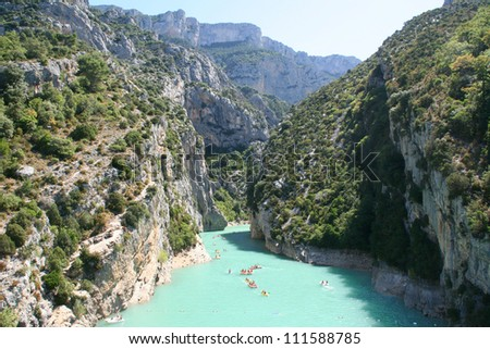 Gorges du Verdon european canyon and river aerial view. Alps, Provence, france