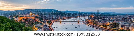 Gorgeuous twilight over Budapest city