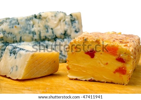Gorgonzola and apricot desert cheese on  wooden board
