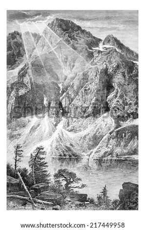 Gorka Wieruszowska and the Fish Lake in Lodz, Poland, drawing by G. Vuillier, from a photograph by Dr. Gustave le Bon, vintage engraved illustration. Le Tour du Monde, Travel Journal, 1881 Photo stock ©