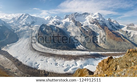 Gorner Glacier Panorama - Panoramic view of the second largest glacier in the Alps.