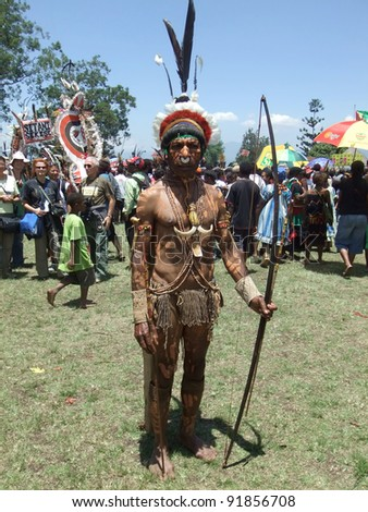 GOROKA, PAPUA, NEW GUINEA - SEPTEMBER 16: Papua warrior at Goroka Tribal Festival. Papua New Guinea on September 16, 2011