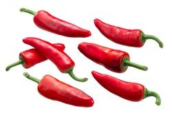 Gorria Espelette-type chile peppers (Capsicum annuum fruits), whole ripe pods