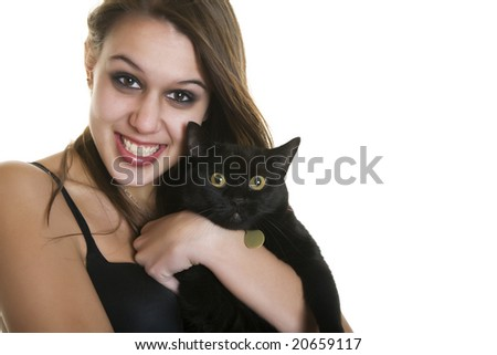 Goth girl holding a pure black cat.