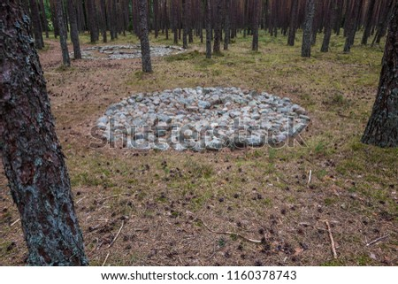Goth stone circles in Grzybnica Manowo archaeological reserve. #1160378743
