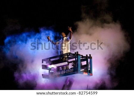 GOTHENBURG, SWEDEN - AUGUST 13: Kanye West performs at the Way Out West festival on August 13, 2011 in Gothenburg, Sweden. West rose from a cloud of smoke in the crowd for the first song of the night
