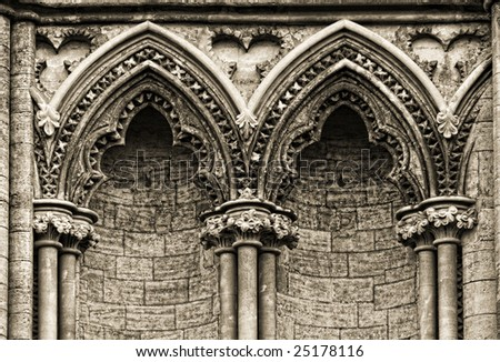Gothic arches at the side of Ely Cathedral, England