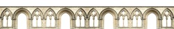 Gothic arches isolated on white background. Elements of architecture, ancient arches, columns, windows and apertures