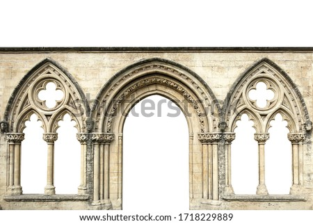 Gothic arches isolated on white background. Elements of architecture, ancient arches, columns, windows and apertures Zdjęcia stock ©