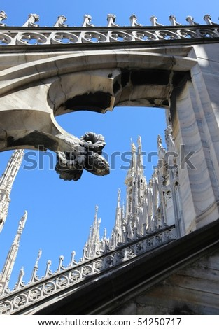 Gothic architecture details on Duomo cathedral roof