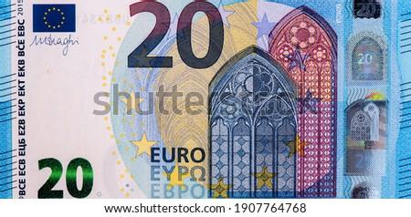 Gothic architecture: Gothic windows. Portrait from European Union 20 Twenty Euro 2015 Banknotes.