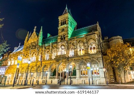 Gothic architecture of Northampton Guildhall building, England.