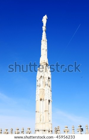 Gothic architecture on blue sky background