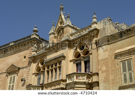 Gothic Architecture on medieval palace in island of Malta