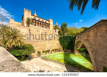 Gothic art cathedral of Palma de Mallorca, inner courtyard view