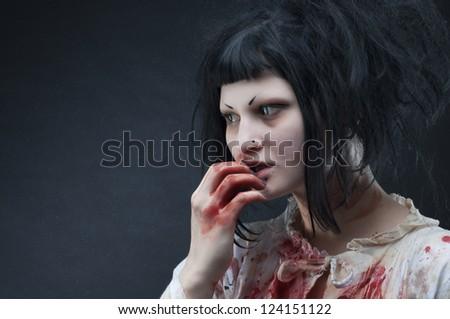 Gothic bloody vampire girl