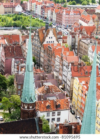 Gothic buildings in old town , Gdansk, Poland