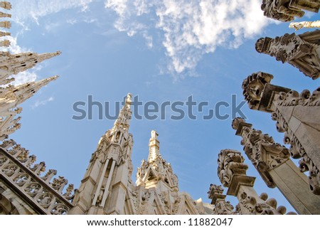gothic cathedral of milan italy from below