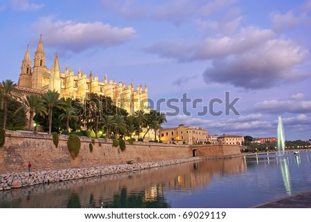 Gothic Cathedral of Palma de Majorca (Balearic Islands - Spain) at sunset - stock photo