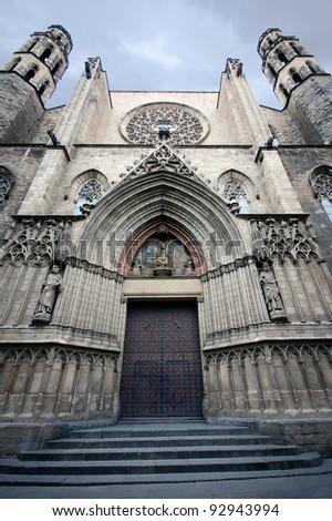 Gothic cathedral Santa Maria del mar in Barcelona, Spain