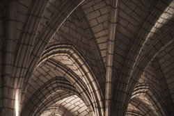 Gothic ceiling structure, abstract dark classic architectural background photo
