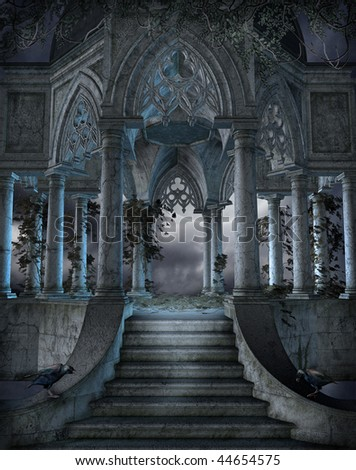 Gothic chapel with stairs and vines