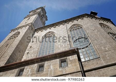 Gothic church, architectural details in Salzburg, Austria
