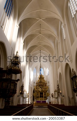 Gothic Church interior. Malmo, Shweden