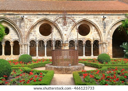 Gothic design of the cloister of Fontfroide Abbey, Languedoc-Roussillon, France