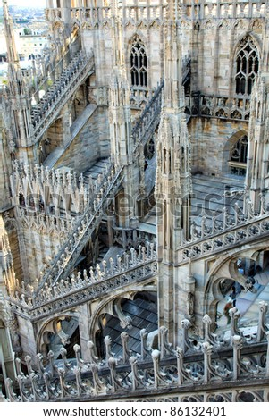 Gothic details of the dome, duomo, of Milan, the famous landmark church, Lombardy, Italy