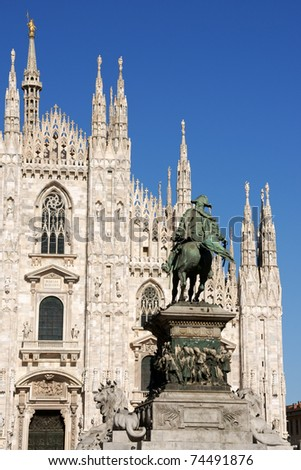 Gothic facade of Milan Cathedral in Piazza del Duomo.