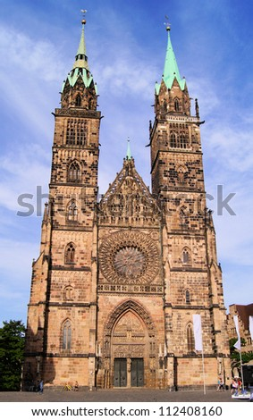 Gothic facade of St Lawrence Church, Nuremberg, Germany
