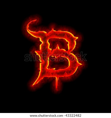 gothic fire font - letter B
