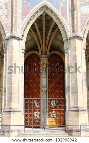 Gothic gate of St. Vitus cathedral in Prague, Czech Republic