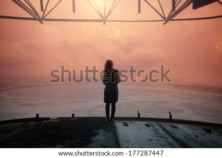 Gothic girl in a sunset picture