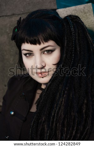 Gothic girl on cemetery. #124282849
