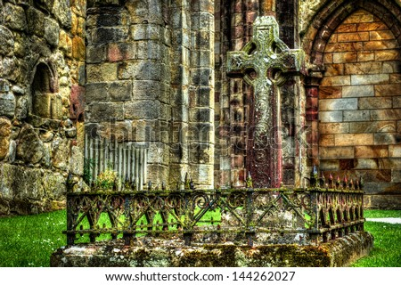 Gothic grave in the heart of an Abbey ruins